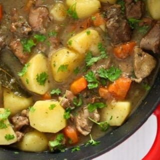 irish lamb stew with potatoes and carrots close up