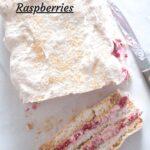 meringue pavlova with raspberries on a white table