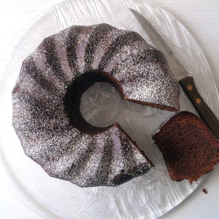 chocolate almond bundt cake on a platter