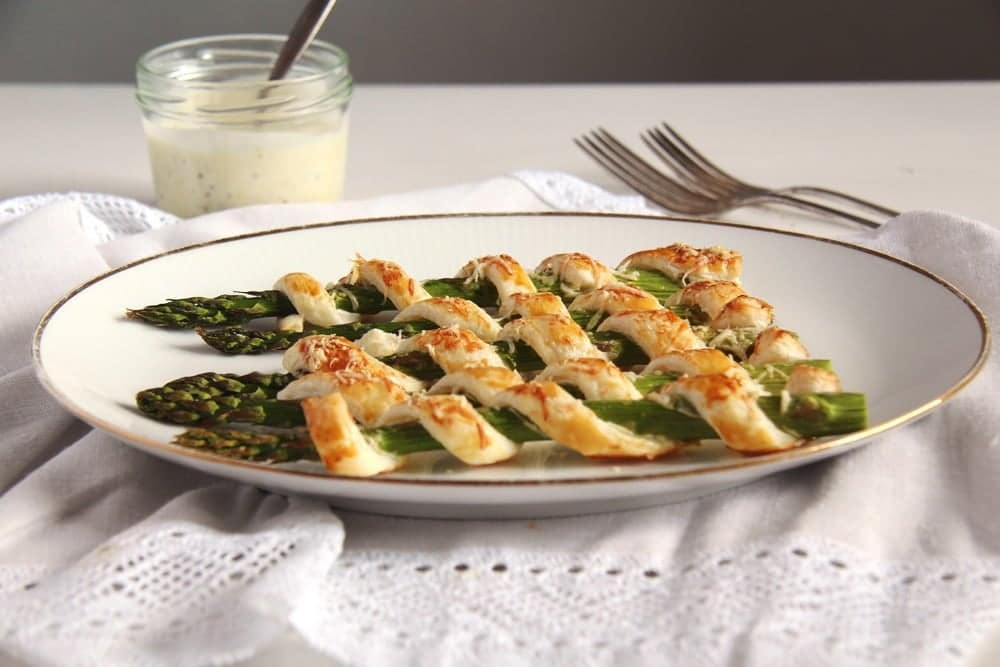 asparagus puff pastry spirals with mayonnaise