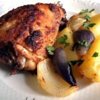 roasted chicken thighs and potatoes
