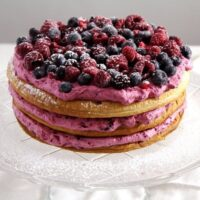 berry cake puff pastry 200x200 Berry Cake with Puff Pastry Layers and Whipped Cream