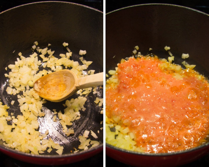 collage of two pictures of cooking chopped onions and tomatoes.