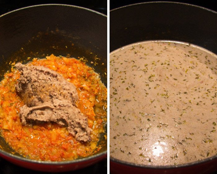 collage of two pictures of adding mashed beans and stock to a pot.