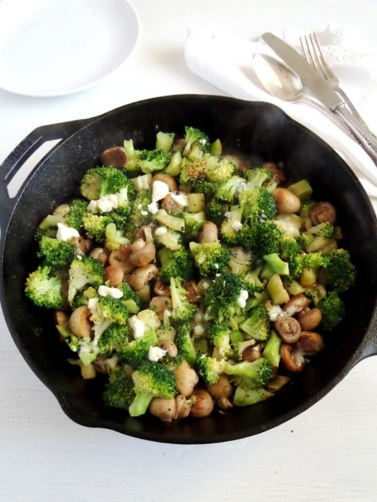 , Skillet Broccoli and Mushrooms with Blue Cheese