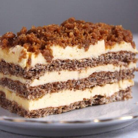 slice of walnut cake with buttercream