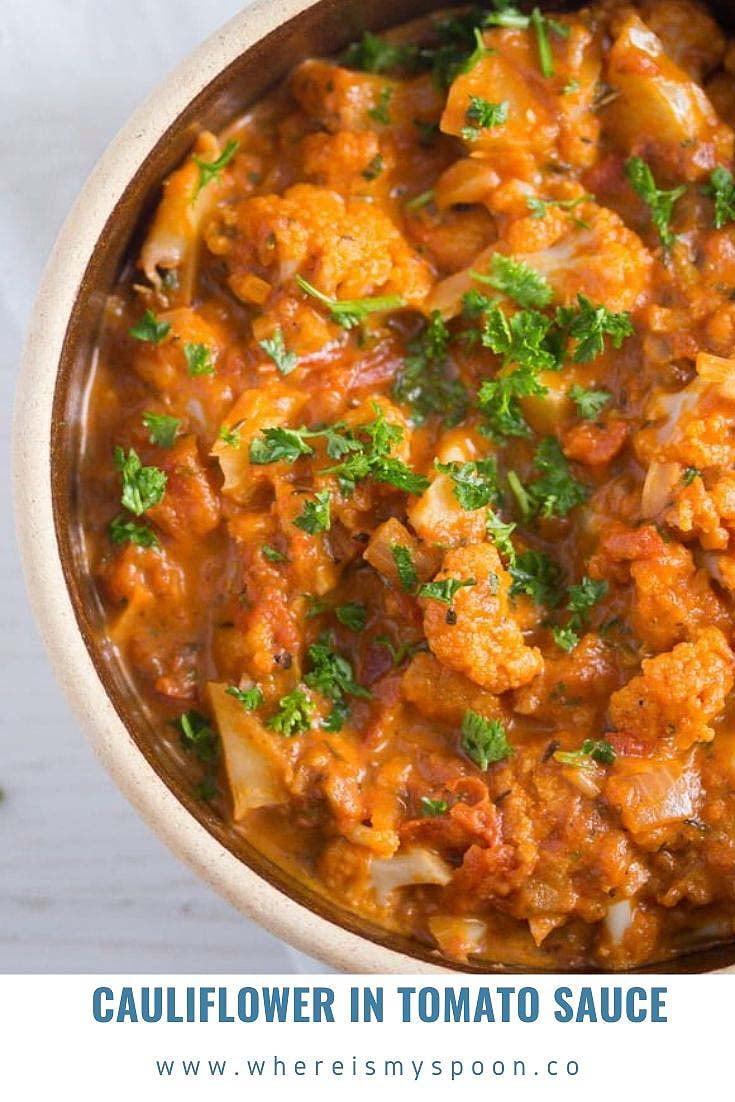 cauliflower in tomato sauce Cauliflower In Tomato Sauce – Vegan Cauliflower Recipe