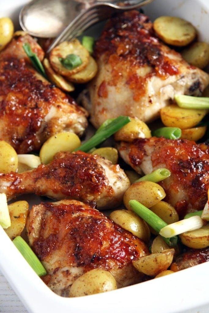 sweet chutney glazed chicken legs on a tray