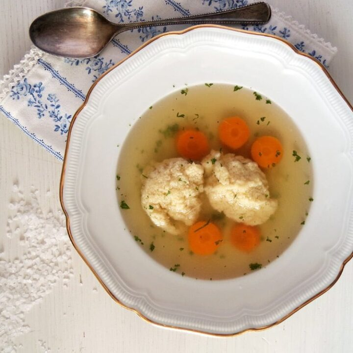 clear stock with dumplings and carrots