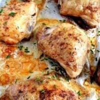 chicken thighs basic f 200x200 Baked Chicken Thighs, Basic Recipe