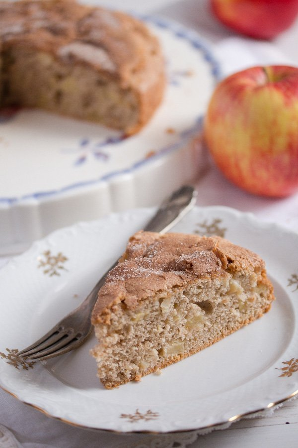 slice of low fat French apple cake
