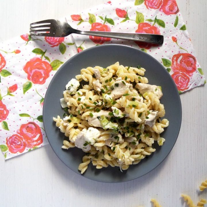 gray plate with fusilli, cheese and poultry