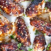 spicy baked chicken wings sprinkled with sesame seeds