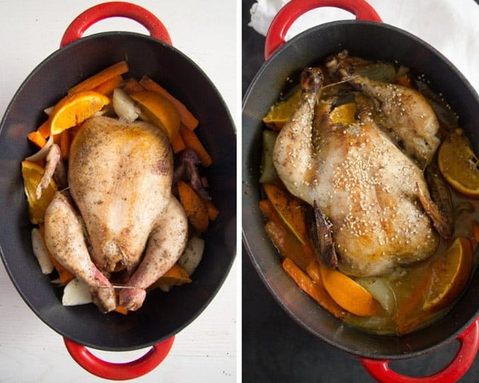 how to make pot roast chicken with oranges Whole Roasted Chicken with Oranges, Carrots and Onions
