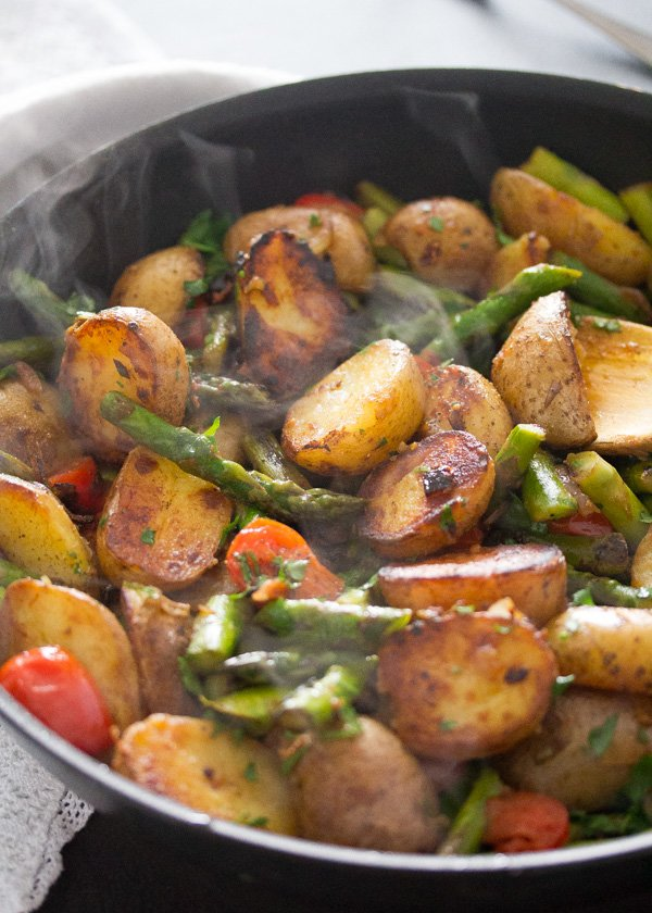 , Pan Fried Asparagus and Potatoes – Green Asparagus Recipe
