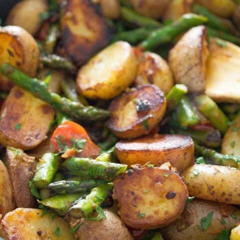 pan fried asparagus and potatoes