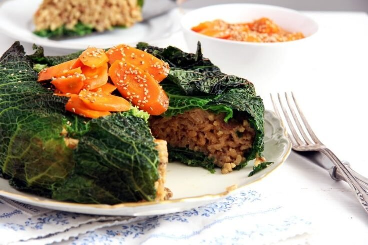 ", Risotto Savoy Cabbage ""Cake"" with Caramelized Carrots"