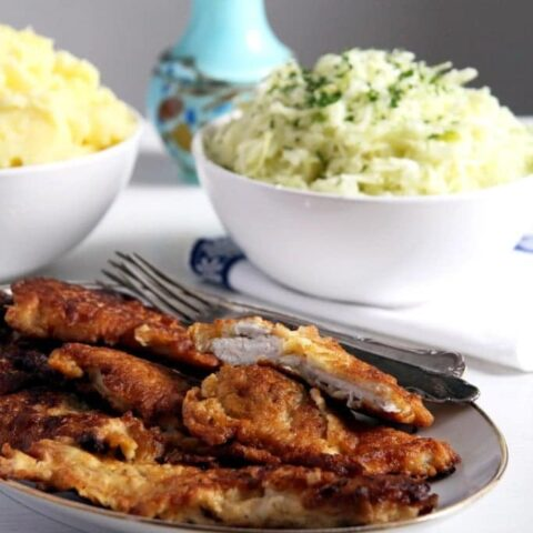 pancake batter chicken with coleslaw