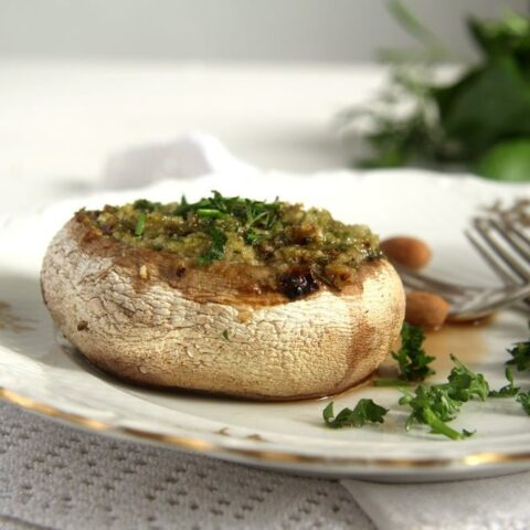 Vegetarian Stuffed Mushrooms (with Herb Butter)