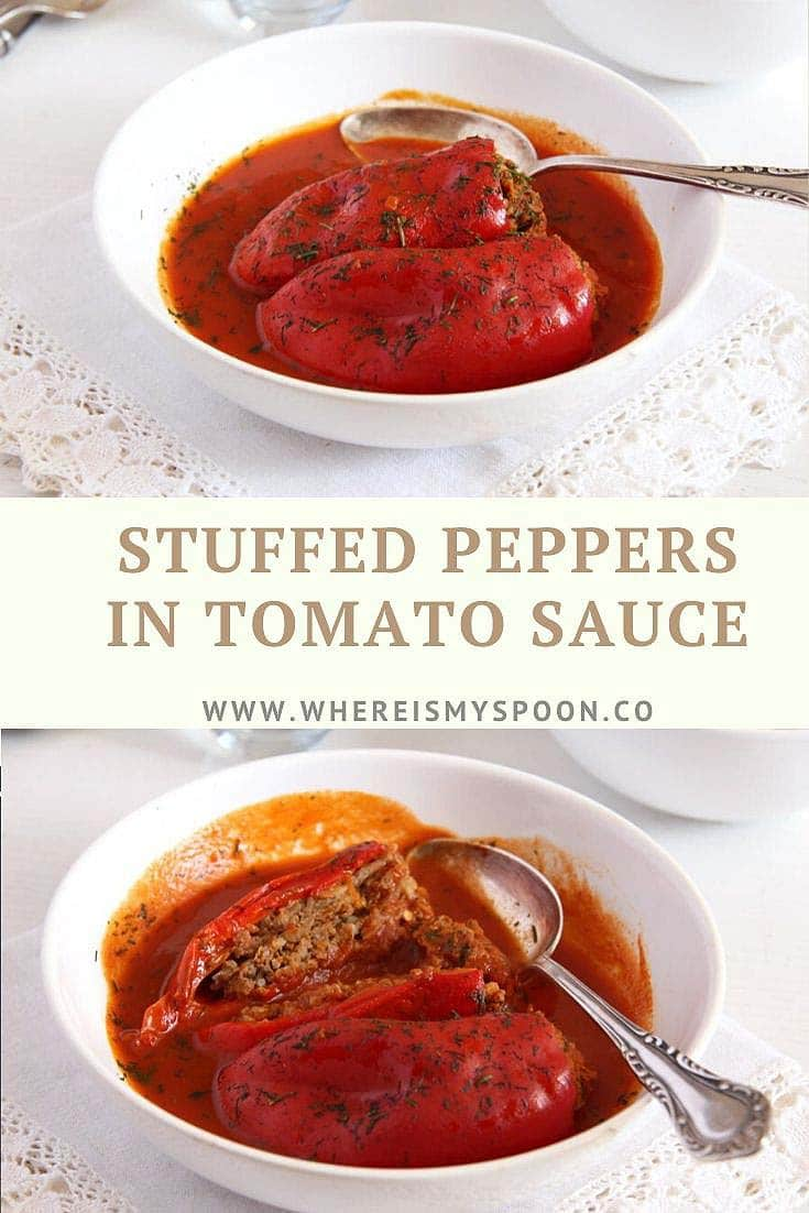 , Stuffed Peppers with Mince in Tomato Sauce