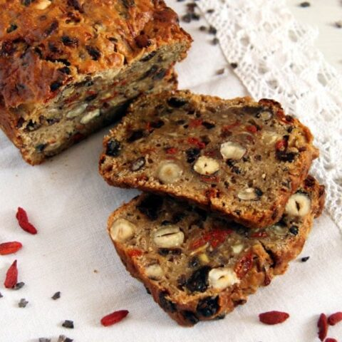 sliced sweet bread with fruit and nuts