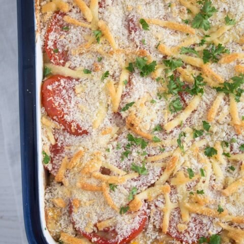 close up tuna casserole with pasta in a small baking dish