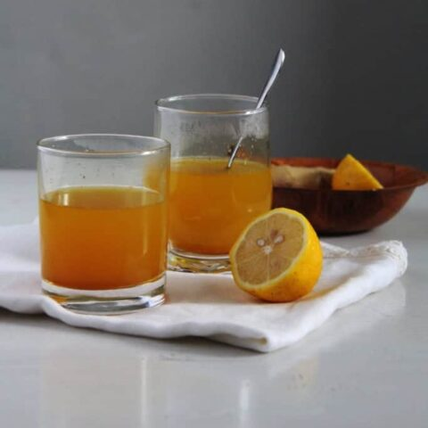 turmeric tea with ginger and lemon