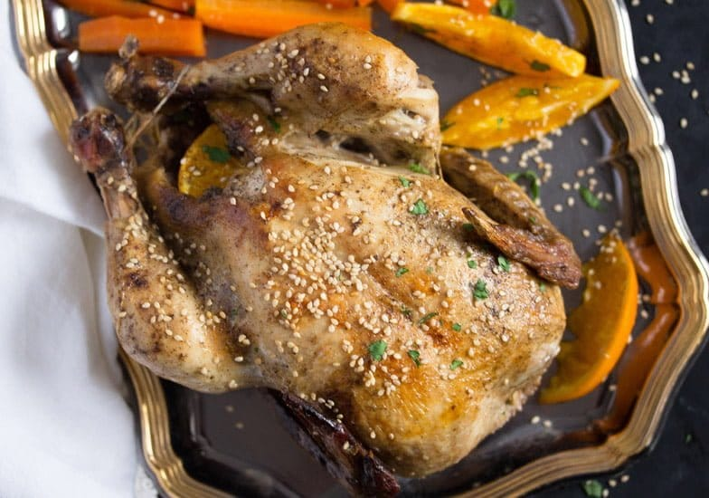 Whole Roasted Chicken with Oranges, Carrots and Onions