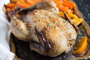 whole chicken with oranges 3 300x200 Whole Roasted Chicken with Oranges, Carrots and Onions