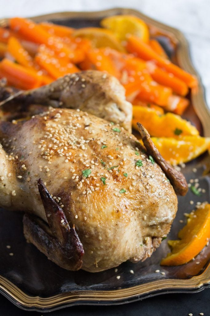 whole chicken with oranges 5 683x1024 Whole Roasted Chicken with Oranges, Carrots and Onions