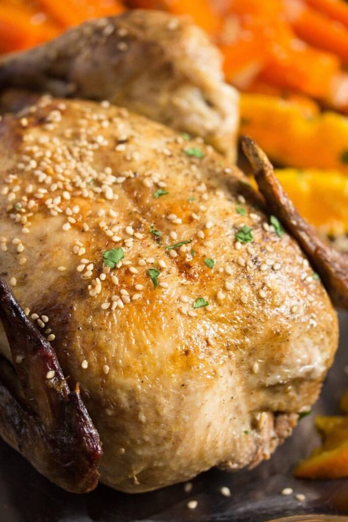 whole chicken with oranges 6 683x1024 Whole Roasted Chicken with Oranges, Carrots and Onions