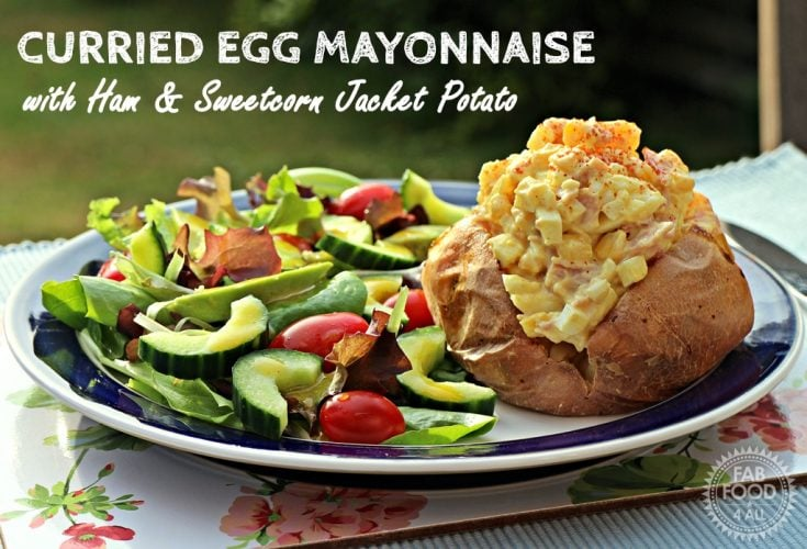 Curried Egg Mayonnaise with Ham Sweetcorn Jacket Potato HD 735x500 What To Do With Hard Boiled Eggs
