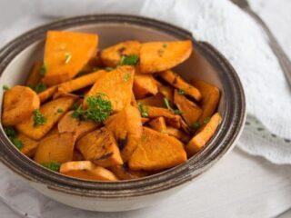 bowl of pan fried sweet potatoes