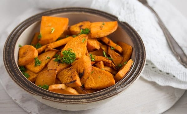 bowl of pan fried sweet potatoes