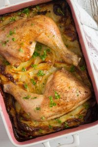 potato gratin with chicken quarters 6 200x300 One Pan Chicken and Potatoes