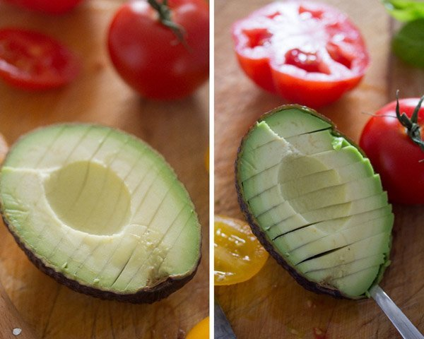 how to cut an avocado Tomato Avocado Mozzarella Salad with Basil   Insalata tricolore