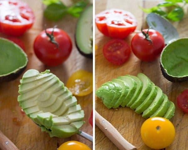 how to slice avocado Tomato Avocado Mozzarella Salad with Basil   Insalata tricolore
