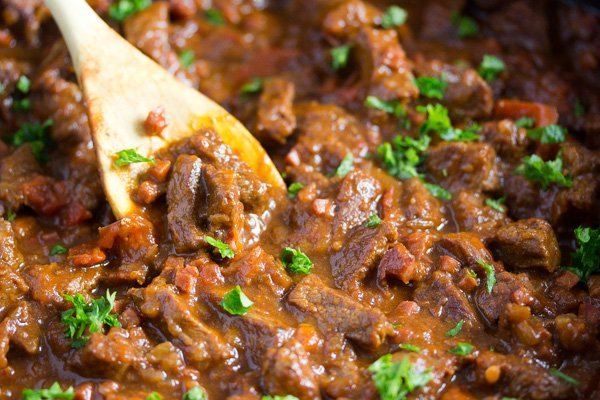 hungarian beef goulash close up