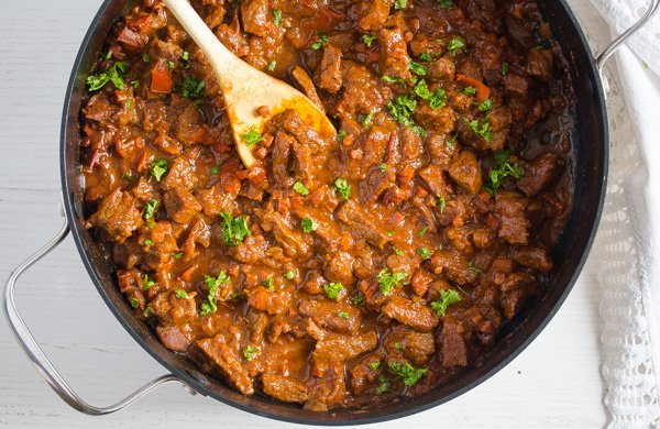 pot of hungarian beef goulash