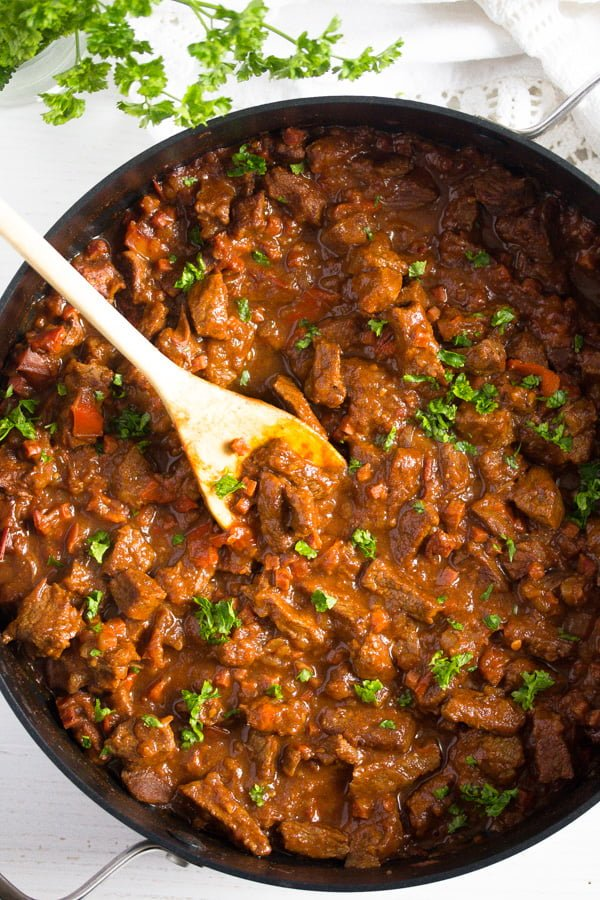 pot of authentic hungarian beef goulash
