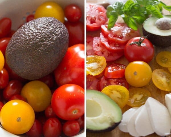 ingredients tomato avocado mozzarella salad Tomato Avocado Mozzarella Salad with Basil   Insalata tricolore