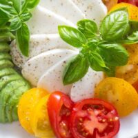 tomato avocado mozzarella salad 9 200x200 Tomato Avocado Mozzarella Salad with Basil   Insalata tricolore