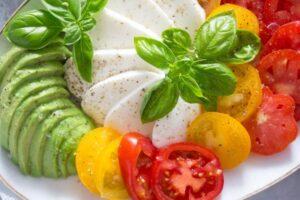tomato avocado mozzarella salad 9 300x200 Tomato Avocado Mozzarella Salad with Basil – Insalata tricolore