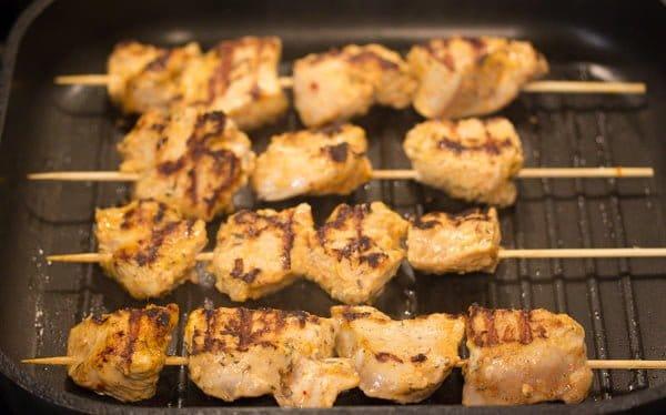 turkey kebabs in a pan
