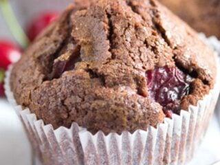 one chocolate cherry muffin close up.
