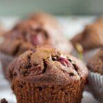 one chocolate muffins close up.