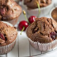 cherry muffins 6 200x200 Easy Chocolate Cherry Muffins
