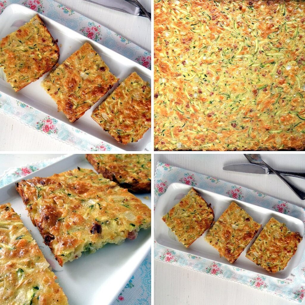 zucchini slice on a baking tray and cut slices