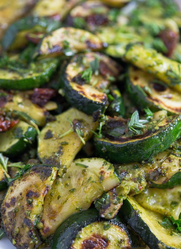 close up zucchini with pesto