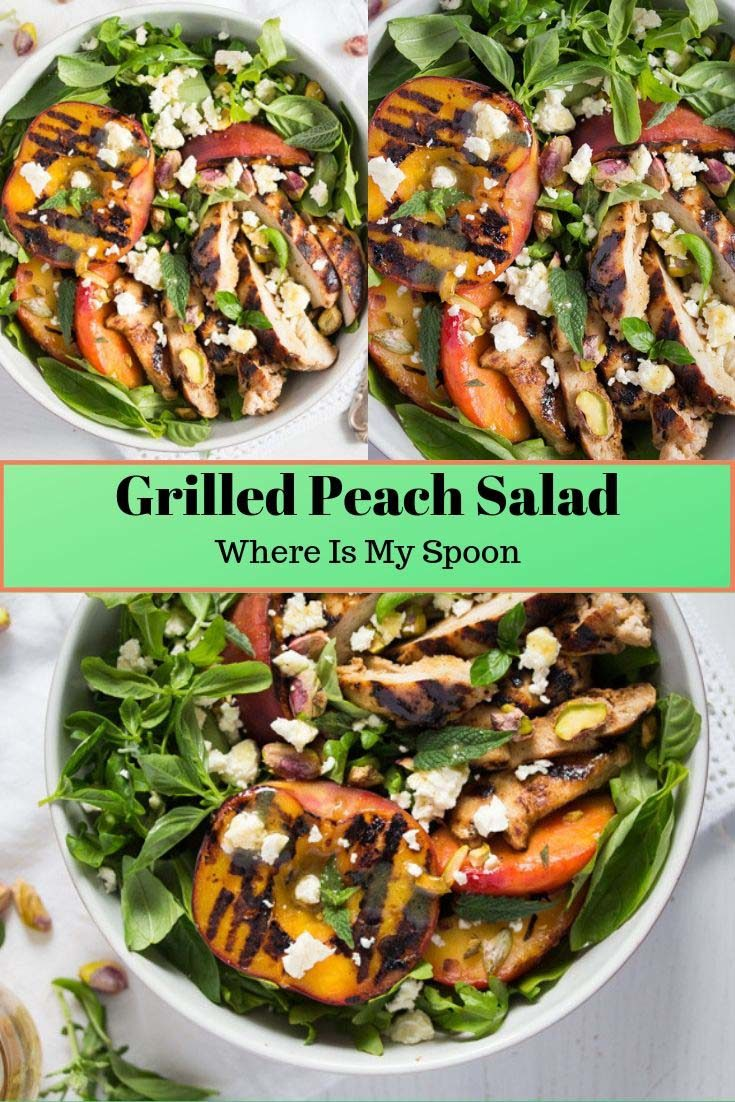, Grilled Peach Salad with Chicken
